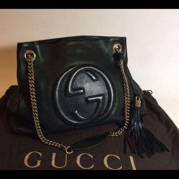 61fb465e2ad Gucci Handbags - Gucci Soho Black Pebbled Leather Shoulder Bag